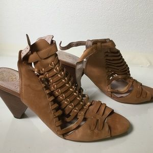 Brown Peep Toe Vince Camuto Booties